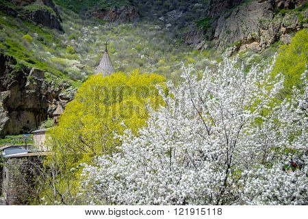 Conic roof chirch in  Geghard monastery among blossom trees