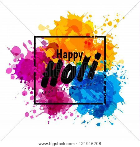Holi Spring Festival Of Colors Vector Design Element And Sign Holi.