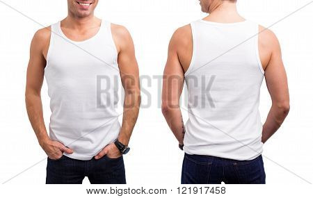 Man's white tang-top from front and back