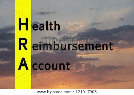 Acronym HRA as Health Reimbursement Account. The sky visible in the background.