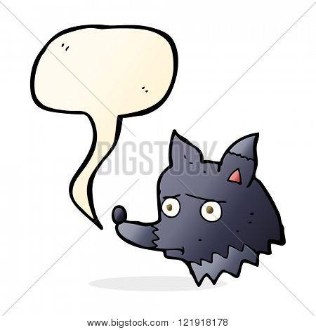 cartoon unhappy dog with speech bubble