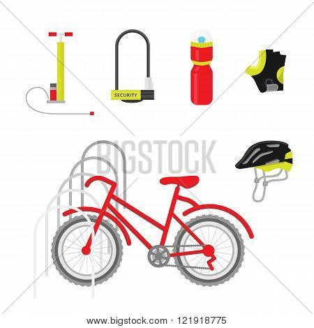 Bicycle equipment icon vector set. Red bike and bicycle uniform. Bike equipment for sport