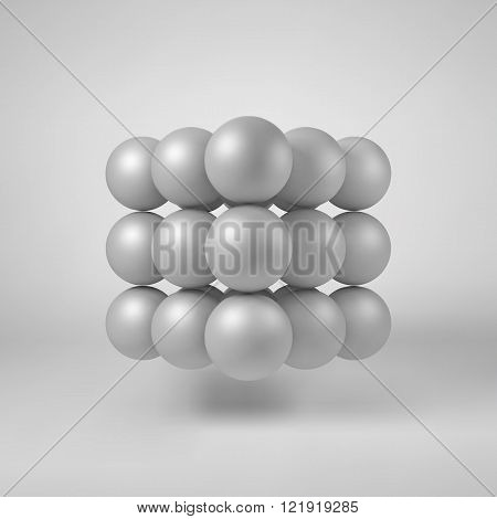 White abstract array with pearl spheres, atom, molecule grid with realistic shadow and light background for logo, design concepts, web, presentations and prints. 3D render design. Vector illustration.