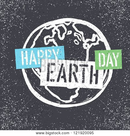 Happy Earth Day. Grunge lettering with Earth Symbol. Stencil grunge alphabet. Tee print design template