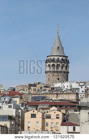 Galata Tower in Galata District, Istanbul City, Turkey