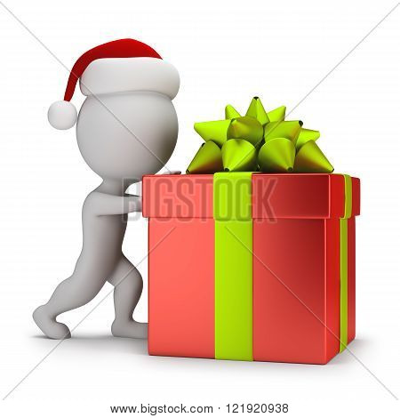 3d small people - Santa pushing a gift. 3d image. White background.