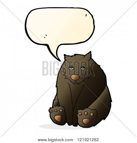 cartoon unhappy black bear with speech bubble