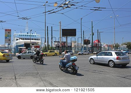 PIRAEUS GREECE - MAY 04: Streets at Port in Piraeus on MAY 04 2015. Traffic at Junction Near Port in Piraeus Greece.