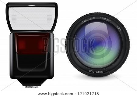 Lens and flash. Photographic accessories. Vector illustration isolated on white background