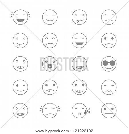 Emoticons Collection. Set of Emoji. Flat monochrome style. Different Emoticons. Vector illustration