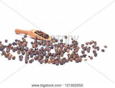 Black peppercorn isolated on white background in studio