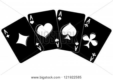 Cards. Four aces. Vector illustration isolated on white background.