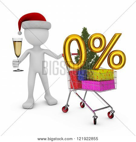 Santa holding a trolley in which the figure of percent