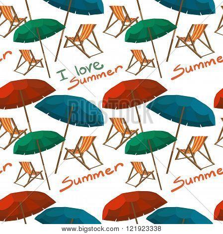 Sea summer beach sun umbrellas beach beds seamless pattern white background. Umbrella and deskchair on a beach in summer day vacation. Vector flat textile seamless pattern