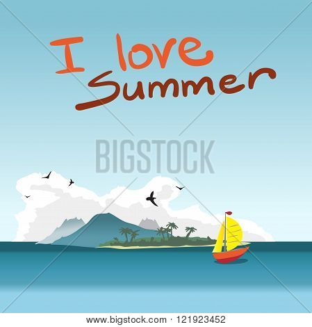 Sea landscape summer beach island boat and gulls in the clouds. Card with red boat on background of a tropical island with space for text. Vector flat illustration