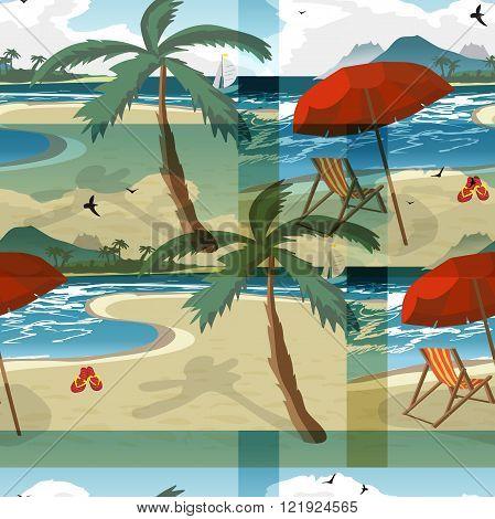 Sea summer beach sun umbrellas beach beds seamless pattern background. Umbrella and deskchair on a beach in summer day vacation. Vector flat textile seamless pattern