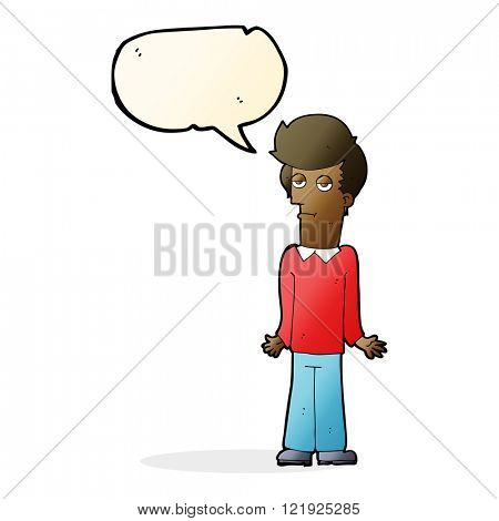 cartoon bored man shrugging shoulders with speech bubble