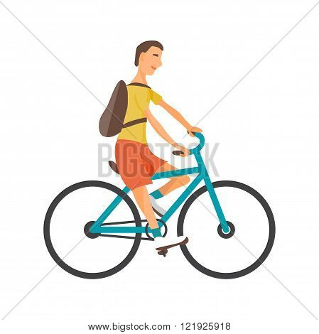 Young man rides blue bike on isolated background. Guy healthy leisure rides bike. Hipster man with rucksack pedaling on summer time. Flat vector color illustration
