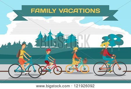 Family ride bike on highway. Healthy leisure and freedom riding
