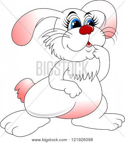 cheerful white rabbit with blue eyes vector and illustration