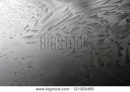 Ice on river broken in to beautiful geometrical angular shape pieces