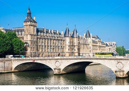 Castle Conciergerie is a former prison located on west of the Cite Island (Ile de la Cite) and today it is a part of Palais de Justice Paris France