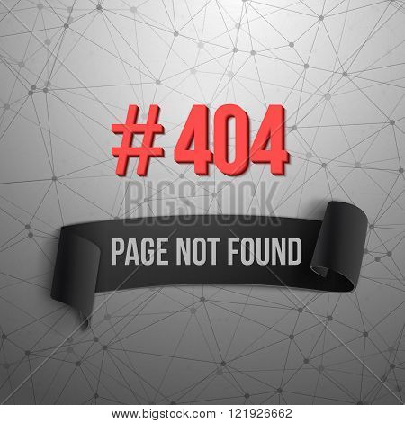Error 404 Futuristic Wireframe Vector Banner. Page Not Found Pol