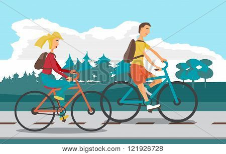 Young woman and man ride bike on highway. Healthy leisure and fr