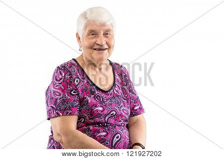 Happy laughing elderly lady with white hair