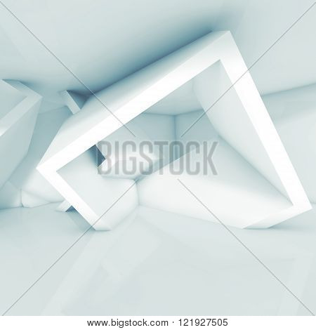 Abstract interior design white cubic structure in empty room. Modern architecture background blue toned square 3d illustration