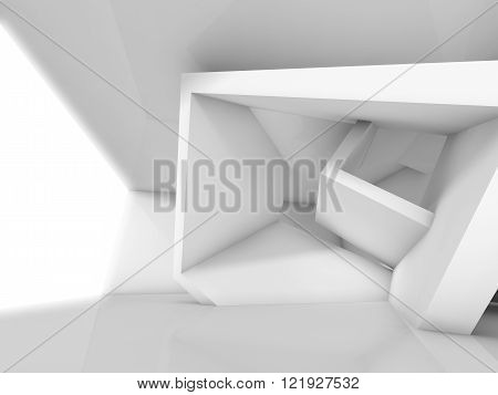 3D Abstract White Interior Design With Window
