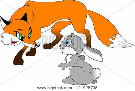 sly red fox and scared gray rabbit