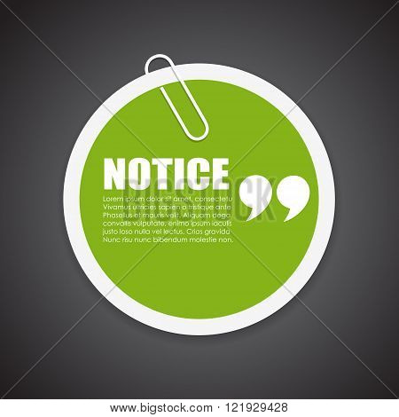 Notice note paper isolated on black background