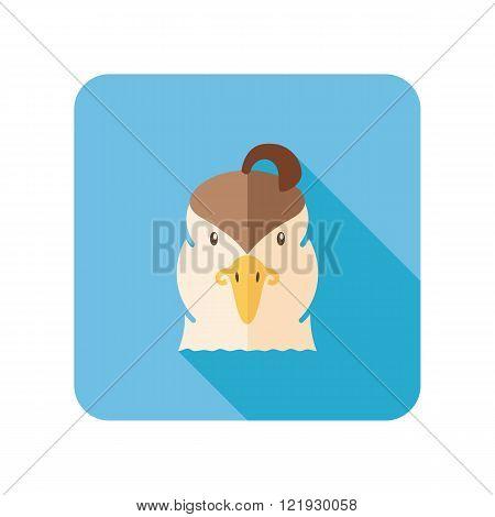 Quail flat icon. Animal head vector symbol eps 10
