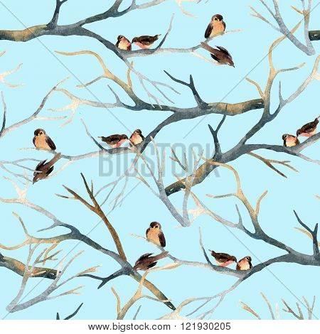 Watercolor birds on the tree branches. Flock of birds in winter. Hand painted seamless pattern