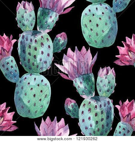 Watercolor seamless prickly pear pattern. Cactus illustration