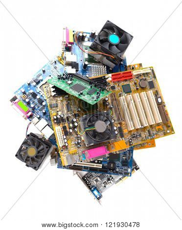 Computer motherboards with fans, isolated on white