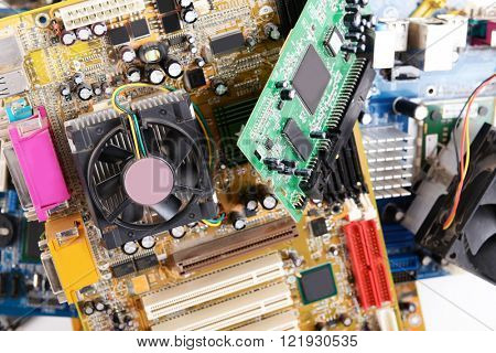 Computer motherboards with fans, close up