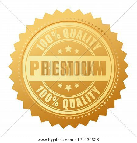 Premium quality gold label isolated on white background