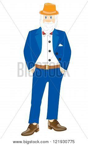 Grandparent in turn blue suit