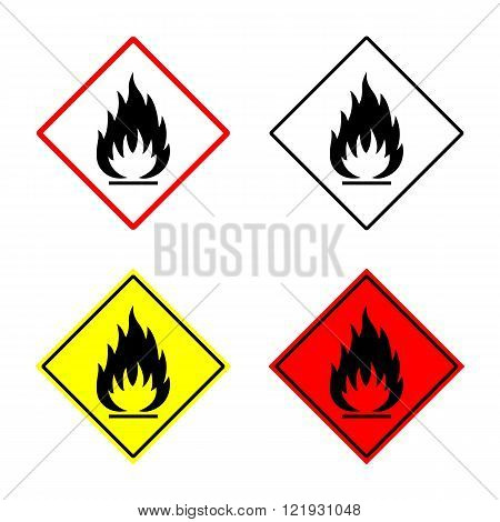 flammable sign set. flammable sign or symbol placed in rhomb. flammable emblem. isolated on white background. vector illustration