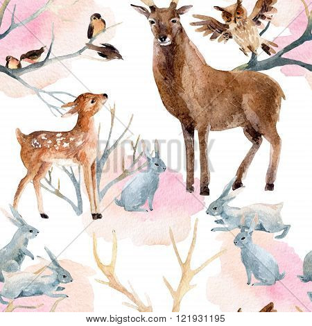 Winter forest seamless pattern. Deer with fawn rabbits birds in winter. Hand painted illustration on white background
