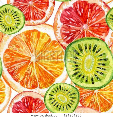 Watercolor seamless pattern with fresh orange grapefruit and kiwifruit. Hand painted illustration