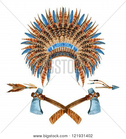 Native American Headdress. Feathered war bonnet. Watercolor indian war bonnet. Hand painted illustration