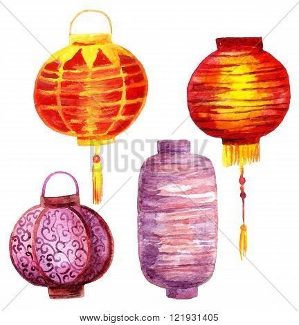 Watercolor lantern set. Hand painted asian paper lanternes