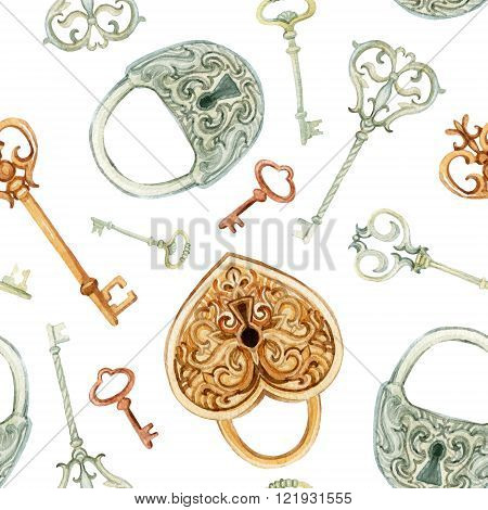 Retro keys and locks seamless pattern. Hand painted illustration on white background