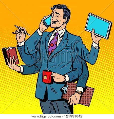 Business successful businessman multitasking