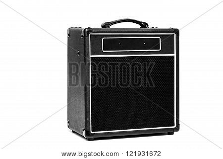 Black valve Guitar amplifier isolated on white