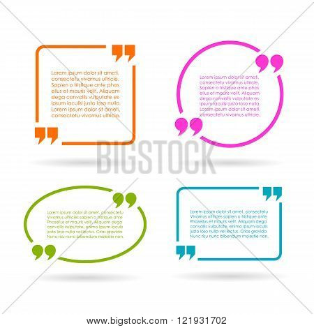 Quote text boxes isolated on white background