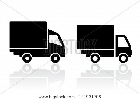 Delivery truck icons set isolated on white background